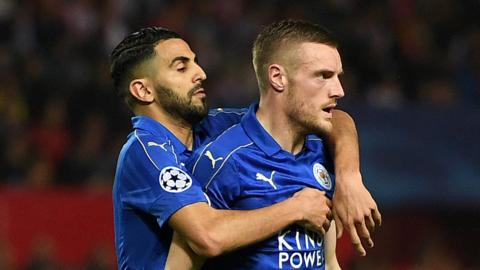 Jamie Vardy (right) and Riyad Mahrez