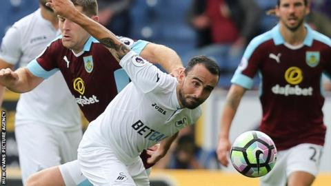 Leon Britton in action for Swansea against Burnley