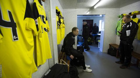 The away dressing room pre-kick-off