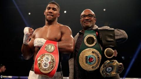 Anthony Joshua after beating Carlos Takam in Cardiff on Saturday