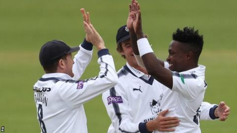 Hampshire celebrate a wicket against Yorkshire at Headingley
