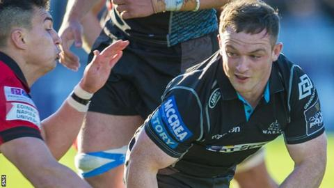 Nick Grigg in action for Glasgow against Edinburgh