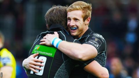 Brandon Thomson (right) celebrates a Glasgow Warriors try