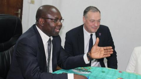 Cameroon Football Federation president Tombi A Roko Sidiki (left) and Crystal Palace CEO Phillip Alexander