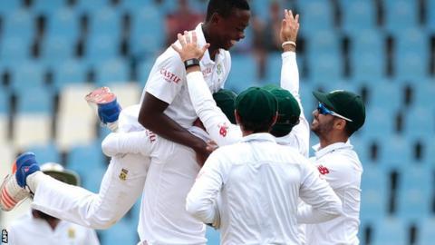 Kagiso Rabada celebrates one of his 13 wickets