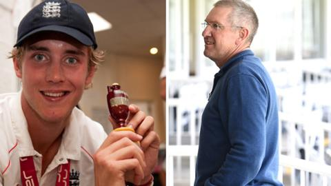 Stuart Broad (left) and new England coach Trevor Bayliss