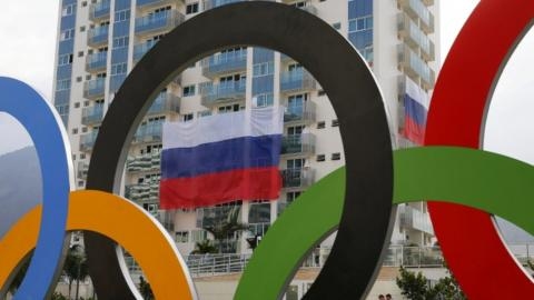 Russian flag and Olympic rings