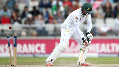 Misbah-ul-Haq is bowled by Chris Woakes
