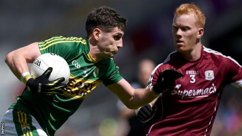 Kerry's Paul Geaney attempts to get past Galway's Declan Kyne