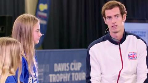 Andy Murray being interviewed at a Davis Cup Trophy Tour event at Stirling University