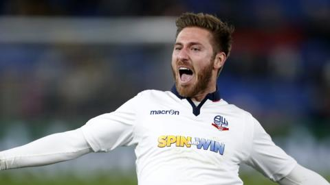 Bolton's James Henry celebrates his goal