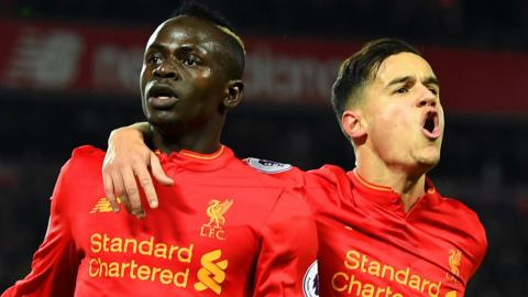 Sadio Mane celebrates Liverpool goal