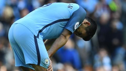 Manchester City's German midfielder Ilkay Gundogan reacts on the final whistle in the Premier League match between Manchester City and Southampton at Etihad Stadium