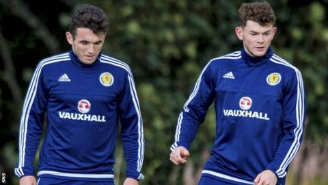 John McGinn and Oliver Burke train with Scotland in Malta