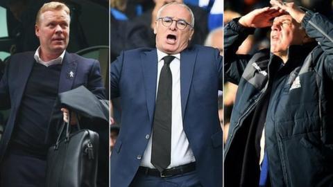 Everton manager Ronald Koeman, Leicester boss Claudio Ranieri and Crystal Palace manager Sam Allardyce