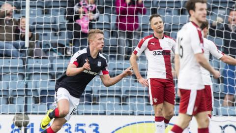 Mark O'Hara celebrates after scoring the opener for Dundee