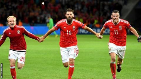 Jonny Williams, Joe Ledley and Gareth Bale