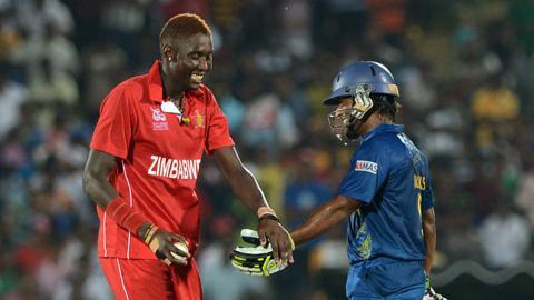 Zimbabwe's Chris Mpofu and Sri Lanka's Jeevan Mendis