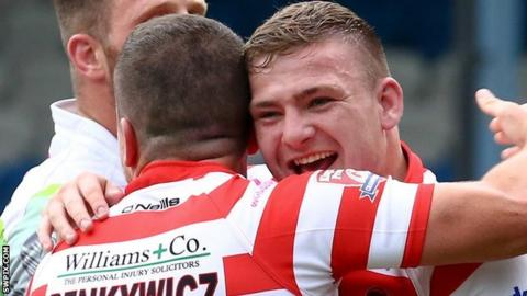 Anthony Bate (right) celebrates with Sean Penkywicz
