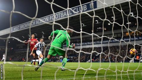 Zlatan Ibrahimovic scores against West Brom