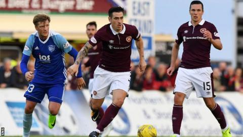 Jamie Walker playing for Hearts against Peterhead