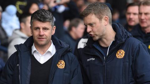 Motherwell manager Stevie Robinson and Stephen Craigan