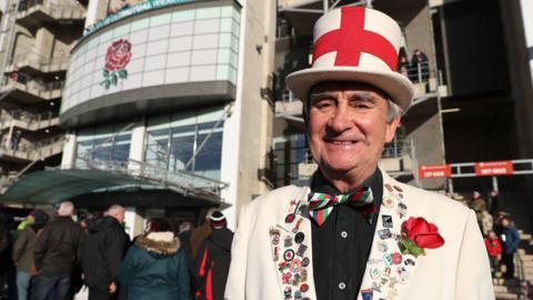 An England fan outside Twickenham