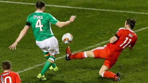 Gareth Bale received a yellow card for his tackle on John O'Shea