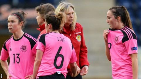 Scotland Coach Anna Signeul consoles Jane Ross (left), Jo Love and Caroline Weir (right)