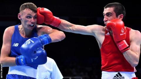 Sean McComb in action in his semi-final against Albert Selimov