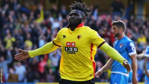 Nigeria's Isaac Success celebrates scoring for Watford.