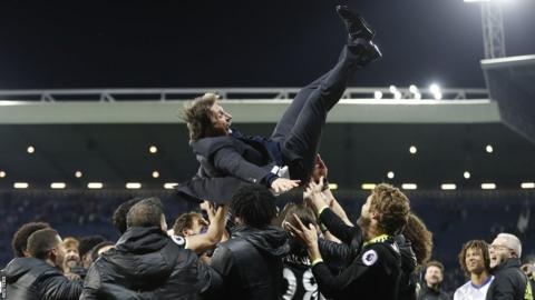 Antonio Conte thrown in celebration