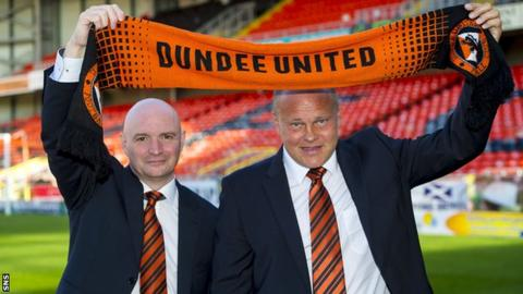 Dundee United chairman Stephen Thompson and manager Mixu Paatelainen