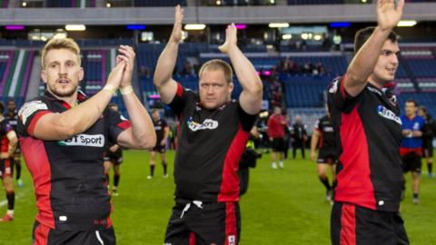 Edinburgh players salute their fans after a thrilling tussle