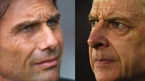 Chelsea manager Antonio Conte (left) and Arsenal manager Arsene Wenger