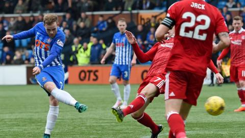 Rory McKenzie curls in the opener for Kilmarnock against Aberdeen