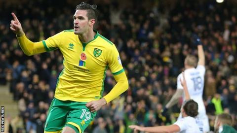 Kyle Lafferty celebrates scoring for Norwich City