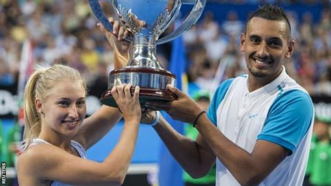 Daria Gavrilova and Nick Kyrgios lifting the Hopman Cup