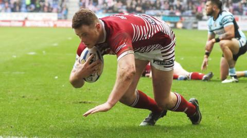 Joe Burgess scores a try for Wigan Warriors