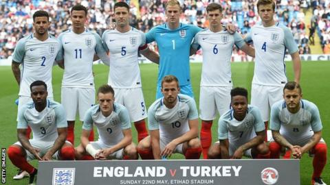 England's team which started against Turkey