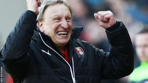 Rotherham United boss Neil Warnock shakes fists in joy