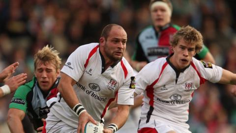 Ulster hooker Rory Best in possession against Harlequins un the Heineken up in 2008