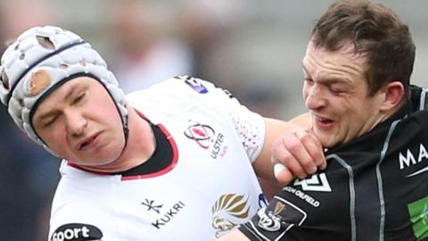 Ulster's Luke Marshall is tackled by Nick Grigg of Glasgow