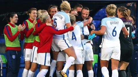 England players embrace Mark Sampson after the opening goal against Russia last month