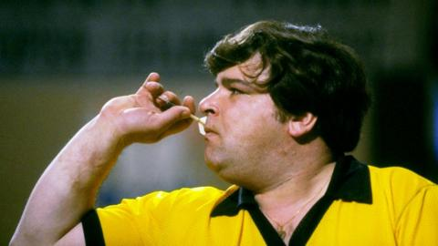 1984: Jocky Wilson prepares to throw a dart during the British Open. \ Mandatory Credit: Bob Martin/Allsport