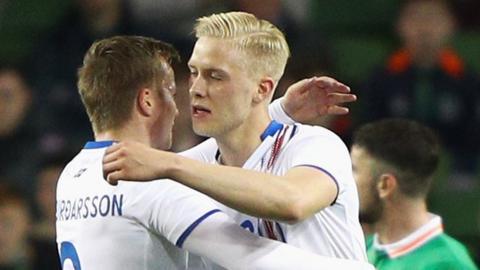 Iceland celebrate against Republic of Ireland