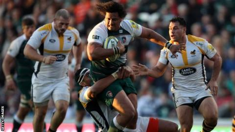 Leicester's Opeti Fonua in action against Wasps