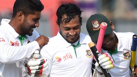 Bangladesh celebrate their Test victory over Sri Lanka