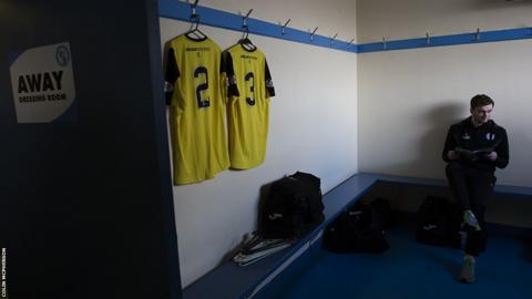 City defender Chris McKee in the away dressing-room prior to the match against Forfar Athletic