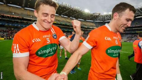 Charlie Vernon and Brendan Donaghy celebrate after Armagh's win over Kildare on Saturday night